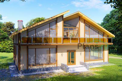 Проект дома с мансардой 15x10 метров, общей площадью 229 м2, из газобетона (пеноблоков), c котельной и кухней-столовой