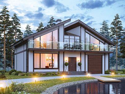 Проект дома с мансардой 15x10 метров, общей площадью 230 м2, из газобетона (пеноблоков), c котельной и кухней-столовой