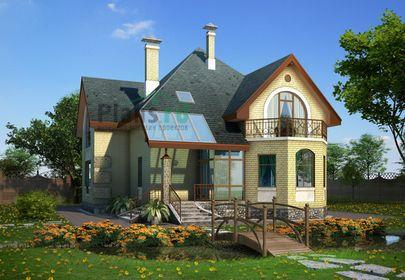 Проект дома с мансардой 15x11 метров, общей площадью 181 м2, из газобетона (пеноблоков), со вторым светом