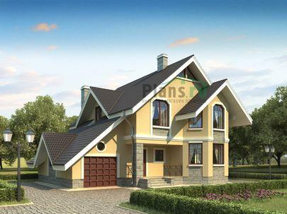 Проект дома с мансардой 15x11 метров, общей площадью 192 м2, из кирпича, c гаражом, котельной и кухней-столовой