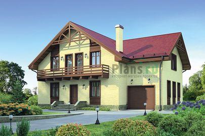 Проект дома с мансардой 15x11 метров, общей площадью 222 м2, из керамических блоков, c гаражом и котельной