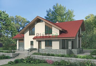 Проект дома с мансардой 15x11 метров, общей площадью 228 м2, из керамических блоков, c гаражом, террасой, котельной и кухней-столовой