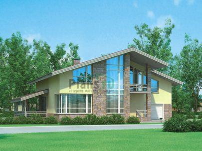 Проект дома с мансардой 15x11 метров, общей площадью 248 м2, из газобетона (пеноблоков), c гаражом, террасой, котельной и кухней-столовой