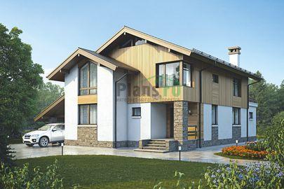 Проект дома с мансардой 15x12 метров, общей площадью 171 м2, из газобетона (пеноблоков), со вторым светом, c гаражом, террасой и котельной