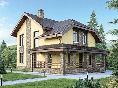 Проект дома с мансардой 15x12 метров, общей площадью 177 м2, из газобетона (пеноблоков), c гаражом, террасой, котельной и кухней-столовой