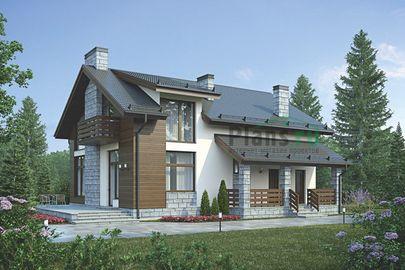 Проект дома с мансардой 15x12 метров, общей площадью 181 м2, из кирпича, c котельной и кухней-столовой