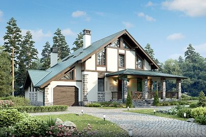 Проект дома с мансардой 15x12 метров, общей площадью 187 м2, из газобетона (пеноблоков), c гаражом, террасой, котельной и кухней-столовой