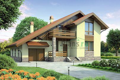 Проект дома с мансардой 15x12 метров, общей площадью 194 м2, из газобетона (пеноблоков), c гаражом, террасой, котельной и кухней-столовой