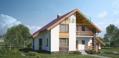 Проект дома с мансардой 15x12 метров, общей площадью 196 м2, из кирпича, c гаражом, террасой, котельной и кухней-столовой