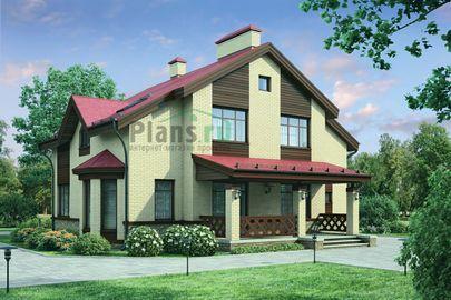 Проект дома с мансардой 15x12 метров, общей площадью 216 м2, из газобетона (пеноблоков), c террасой, котельной и кухней-столовой
