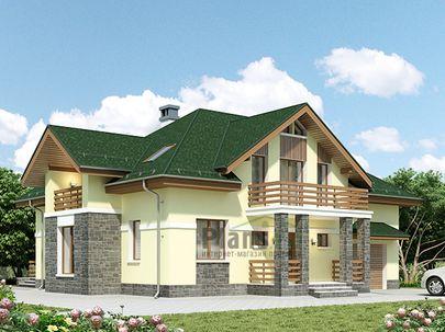 Проект дома с мансардой 15x12 метров, общей площадью 225 м2, из газобетона (пеноблоков), c гаражом, террасой, котельной и кухней-столовой