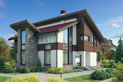 Проект дома с мансардой 15x12 метров, общей площадью 225 м2, из газобетона (пеноблоков), со вторым светом, c котельной и кухней-столовой