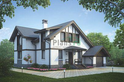 Проект дома с мансардой 15x13 метров, общей площадью 165 м2, из керамических блоков, c гаражом, террасой и котельной