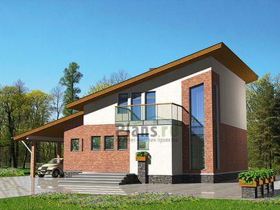 Проект дома с мансардой 15x13 метров, общей площадью 174 м2, из кирпича, c бассейном, террасой, котельной и кухней-столовой