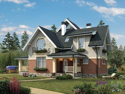 Проект дома с мансардой 15x13 метров, общей площадью 191 м2, из газобетона (пеноблоков), c террасой, котельной и кухней-столовой