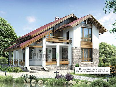 Проект дома с мансардой 15x13 метров, общей площадью 209 м2, из керамических блоков, c гаражом, террасой, котельной и кухней-столовой