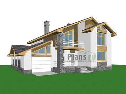 Проект дома с мансардой 15x13 метров, общей площадью 210 м2, из газобетона (пеноблоков), c гаражом, террасой, котельной и кухней-столовой