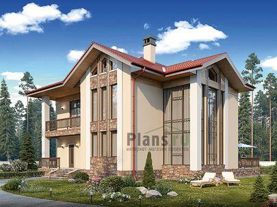 Проект дома с мансардой 15x13 метров, общей площадью 219 м2, из газобетона (пеноблоков), со вторым светом, c террасой, котельной и кухней-столовой
