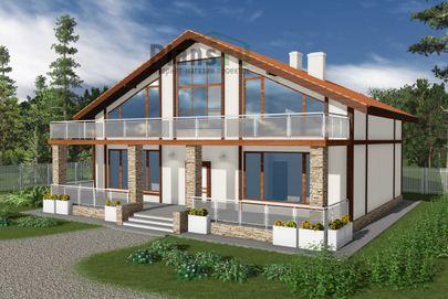 Проект дома с мансардой 15x13 метров, общей площадью 224 м2, из газобетона (пеноблоков), c террасой и котельной