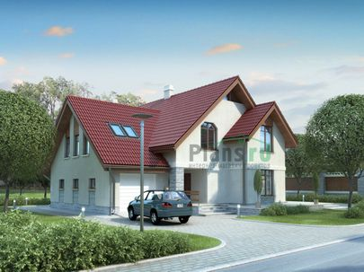 Проект дома с мансардой 15x13 метров, общей площадью 235 м2, из газобетона (пеноблоков), c гаражом, террасой, котельной и кухней-столовой