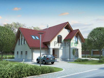Проект дома с мансардой 15x13 метров, общей площадью 235 м2, из керамических блоков, c гаражом, террасой, котельной и кухней-столовой