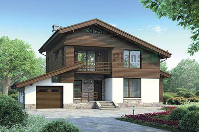 Проект дома с мансардой 15x14 метров, общей площадью 177 м2, из керамических блоков, c гаражом, террасой и котельной