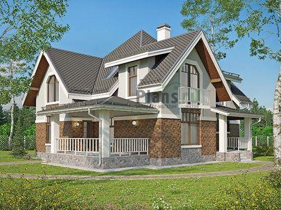 Проект дома с мансардой 15x14 метров, общей площадью 186 м2, из кирпича, c террасой, котельной и кухней-столовой