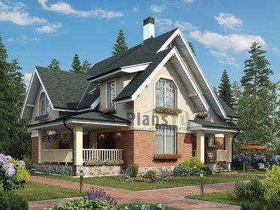Проект дома с мансардой 15x14 метров, общей площадью 191 м2, из газобетона (пеноблоков), c террасой, котельной и кухней-столовой