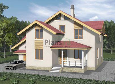 Проект дома с мансардой 15x14 метров, общей площадью 236 м2, из газобетона (пеноблоков), c гаражом, террасой, котельной и кухней-столовой