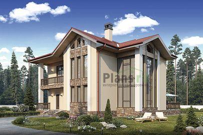 Проект дома с мансардой 15x14 метров, общей площадью 246 м2, из керамических блоков, со вторым светом, c террасой, котельной и кухней-столовой