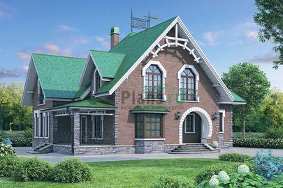Проект дома с мансардой 15x14 метров, общей площадью 249 м2, из газобетона (пеноблоков), c котельной и кухней-столовой