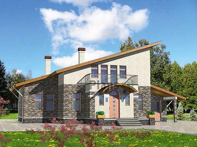 Проект дома с мансардой 15x15 метров, общей площадью 200 м2, из газобетона (пеноблоков), c гаражом, бассейном, террасой, котельной и кухней-столовой