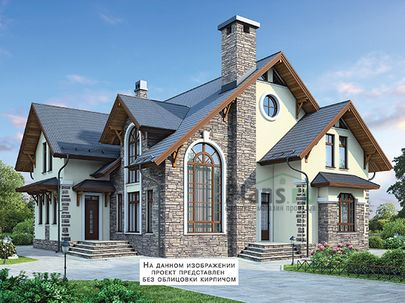 Проект дома с мансардой 15x15 метров, общей площадью 220 м2, из керамических блоков, c котельной и кухней-столовой