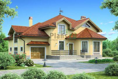 Проект дома с мансардой 15x15 метров, общей площадью 259 м2, из керамических блоков, c гаражом, террасой, котельной и кухней-столовой