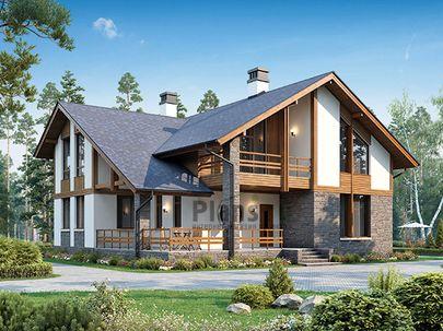 Проект дома с мансардой 15x16 метров, общей площадью 220 м2, из керамических блоков, c террасой, котельной и кухней-столовой