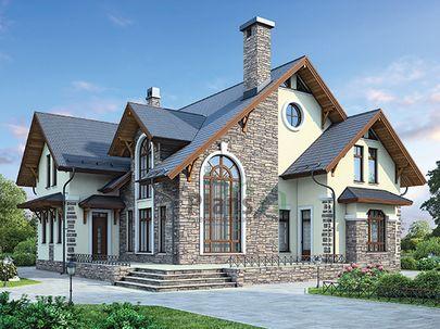 Проект дома с мансардой 15x17 метров, общей площадью 254 м2, из керамических блоков, со вторым светом, c террасой, котельной и кухней-столовой