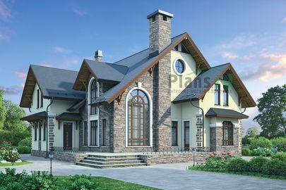 Проект дома с мансардой 15x17 метров, общей площадью 255 м2, из керамических блоков, со вторым светом, c террасой, котельной и кухней-столовой