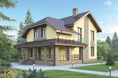 Проект дома с мансардой 16x10 метров, общей площадью 150 м2, из газобетона (пеноблоков), c террасой и котельной