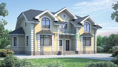 Проект дома с мансардой 16x10 метров, общей площадью 222 м2, из газобетона (пеноблоков), c котельной и кухней-столовой