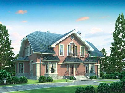 Проект дома с мансардой 16x10 метров, общей площадью 222 м2, из керамических блоков, c террасой, котельной и кухней-столовой