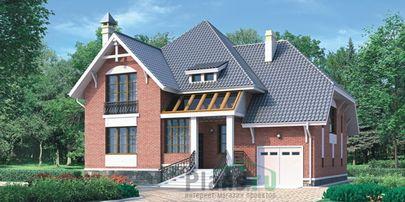 Проект дома с мансардой 16x10 метров, общей площадью 242 м2, из керамических блоков, c гаражом