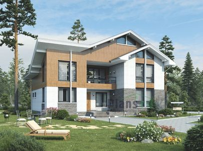 Проект дома с мансардой 16x11 метров, общей площадью 192 м2, из кирпича, со вторым светом, c террасой, котельной и кухней-столовой