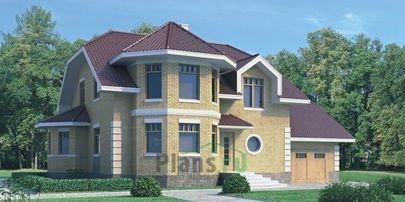 Проект дома с мансардой 16x11 метров, общей площадью 212 м2, из керамических блоков, c гаражом, котельной и кухней-столовой