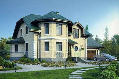 Проект дома с мансардой 16x11 метров, общей площадью 213 м2, из керамических блоков, c гаражом, котельной и кухней-столовой