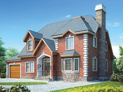 Проект дома с мансардой 16x11 метров, общей площадью 230 м2, из газобетона (пеноблоков), c гаражом, котельной и кухней-столовой