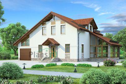 Проект дома с мансардой 16x12 метров, общей площадью 161 м2, из газобетона (пеноблоков), c гаражом и зимним садом