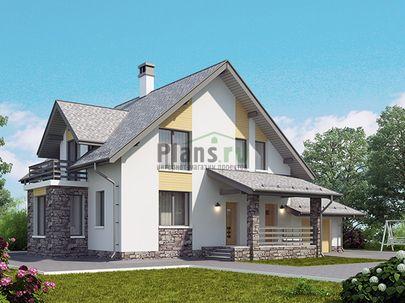Проект дома с мансардой 16x12 метров, общей площадью 163 м2, из газобетона (пеноблоков), c гаражом, террасой, котельной и кухней-столовой