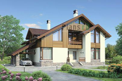 Проект дома с мансардой 16x12 метров, общей площадью 214 м2, из газобетона (пеноблоков), c террасой, котельной и кухней-столовой