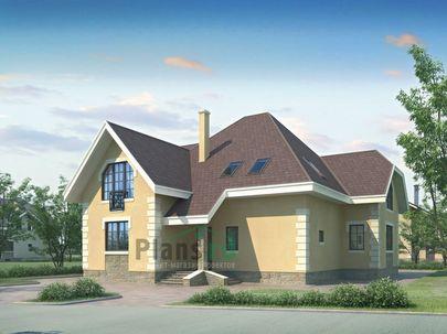 Проект дома с мансардой 16x12 метров, общей площадью 233 м2, из газобетона (пеноблоков), c гаражом, котельной и кухней-столовой
