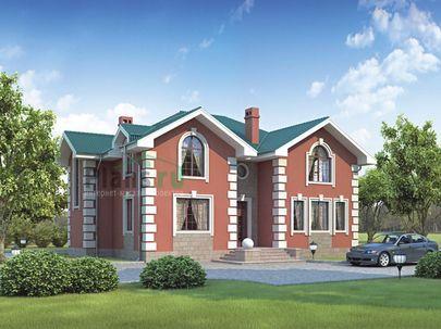 Проект дома с мансардой 16x12 метров, общей площадью 235 м2, из керамических блоков, c террасой, котельной и кухней-столовой